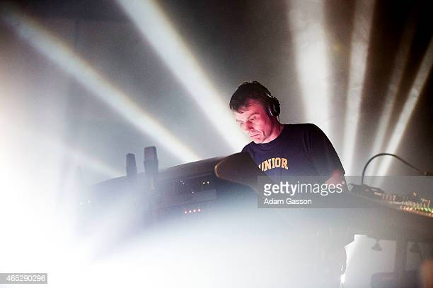 Darren Price of Underworld performs on stage at Colston Hall on March 5 2015 in Bristol United Kingdom