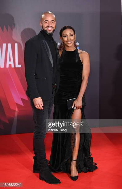 """Darren Randolph and Alexandra Burke attend the """"King Richard"""" UK Premiere during the 65th BFI London Film Festival at The Royal Festival Hall on..."""