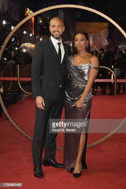 """Darren Randolph and Alexandra Burke attend the UK Special Screening of """"Dune"""" at the Odeon Luxe Leicester Square on October 18, 2021 in London,..."""