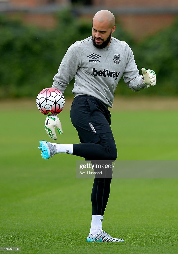 Darren Randolph during the first West Ham United pre-season training session at Chadwell Heath on June 22, 2015 in London, England.