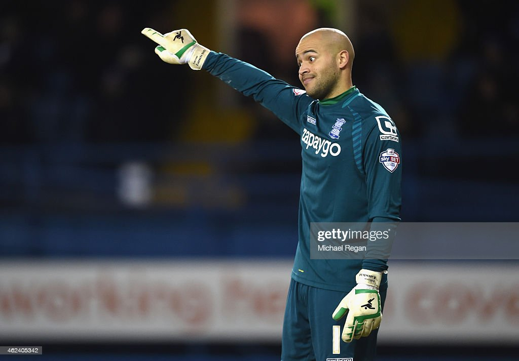 Darren Randolph of Birmingham gestures during the Sky Bet Championship match between Sheffield Wednesday and Birmingham City at Hillsborough Stadium on January 27, 2015 in Sheffield, England.