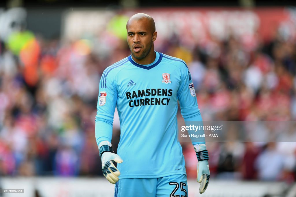Darren Randolph of Middlesborough during the Sky Bet Championship match between Wolverhampton and Middlesbrough at Molineux on August 5, 2017 in Wolverhampton, England.