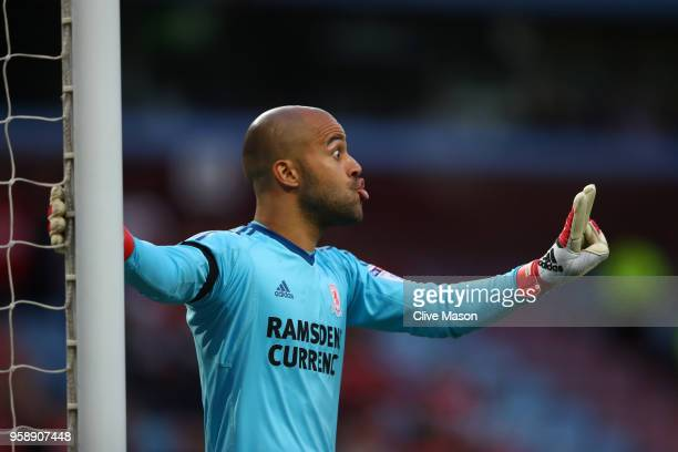 Darren Randolph of Middlesbrough gives instruction to his team during the Sky Bet Championship Play Off Semi Final second leg match between Aston...