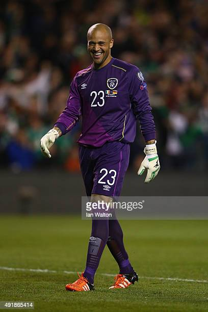 Darren Randolph of Republic of Ireland reacts during the UEFA EURO 2016 Qualifier group D match between Republic of Ireland and Germany at the Aviva...