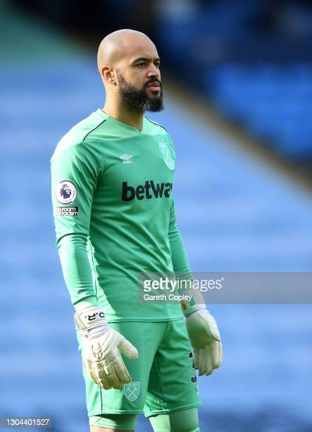 Darren Randolph of West Ham during the Premier League match between Manchester City and West Ham United at Etihad Stadium on February 27, 2021 in...