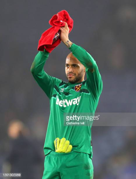 Darren Randolph of West Ham United applauds fans after the Premier League match between Leicester City and West Ham United at The King Power Stadium...