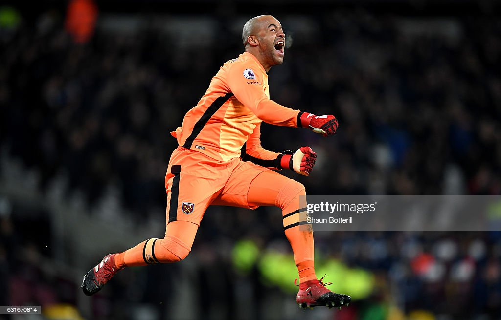 Darren Randolph of West Ham United celebrates his sides goal during the Premier League match between West Ham United and Crystal Palace at London Stadium on January 14, 2017 in London, England.