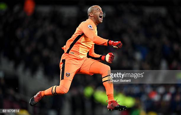 Darren Randolph of West Ham United celebrates his sides goal during the Premier League match between West Ham United and Crystal Palace at London...