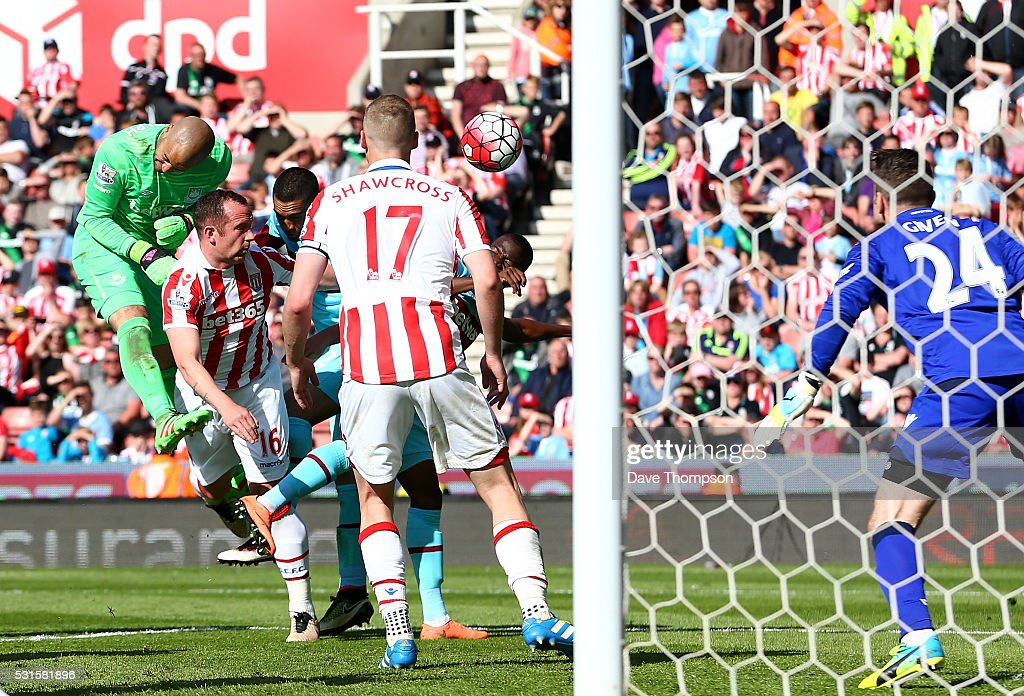 Darren Randolph of West Ham United competes for the ball during the Barclays Premier League match between Stoke City and West Ham United at the Britannia Stadium on May 15, 2016 in Stoke on Trent, England.