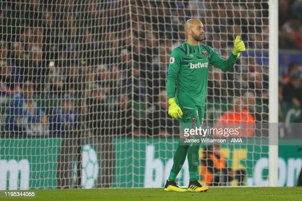 Darren Randolph of West Ham United during the Premier League match between Leicester City and West Ham United at The King Power Stadium on January 22...