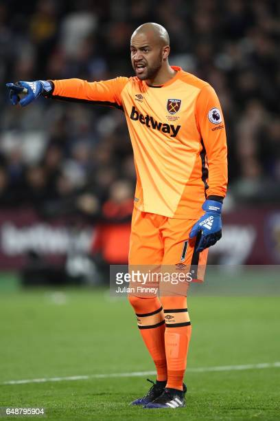 Darren Randolph of West Ham United looks on uring the Premier League match between West Ham United and Chelsea at London Stadium on March 6 2017 in...