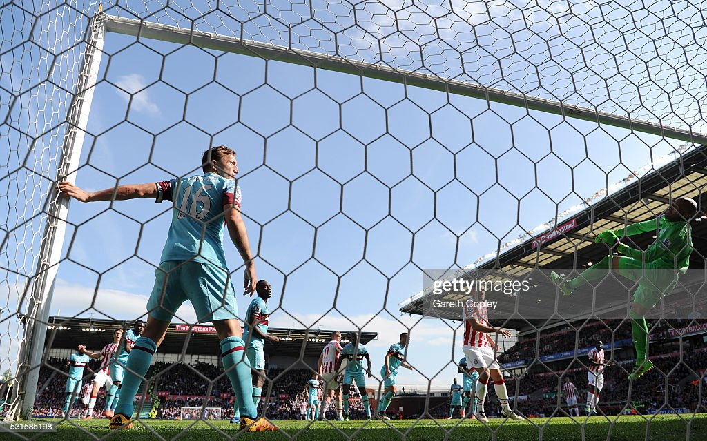 Darren Randolph of West Ham United makes a save during the Barclays Premier League match between Stoke City and West Ham United at the Britannia Stadium on May 15, 2016 in Stoke on Trent, England.