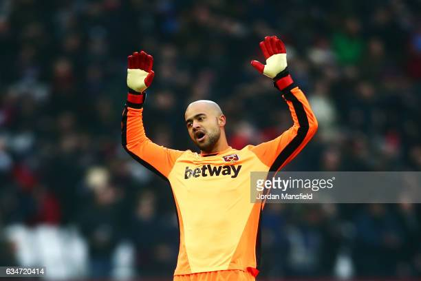 Darren Randolph of West Ham United reacts during the Premier League match between West Ham United and West Bromwich Albion at London Stadium on...