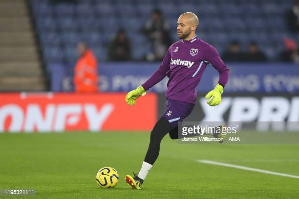 Darren Randolph of West Ham United warming up before the Premier League match between Leicester City and West Ham United at The King Power Stadium on...