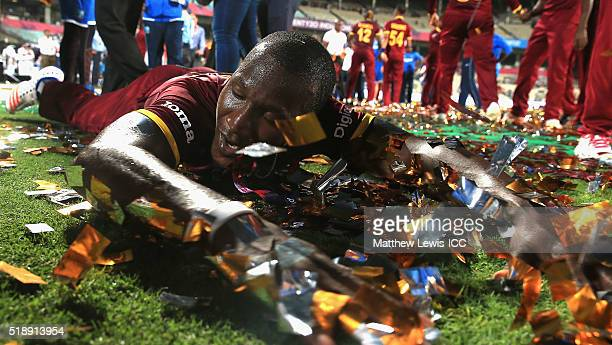 Darren Sammy Captain of the West Indies celebrates his teams win after defeating England during the ICC World Twenty20 India 2016 Final between...