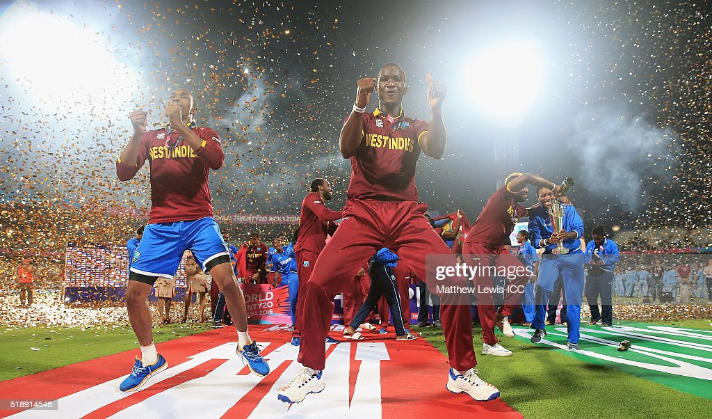 Darren Sammy, Captain of the West Indies celebrates his teams win after defeating England with Dwayne Bravo of the West Indies during the ICC World Twenty20 India 2016 Final between England and West Indies at Eden Gardens on April 3, 2016 in Kolkata, India.