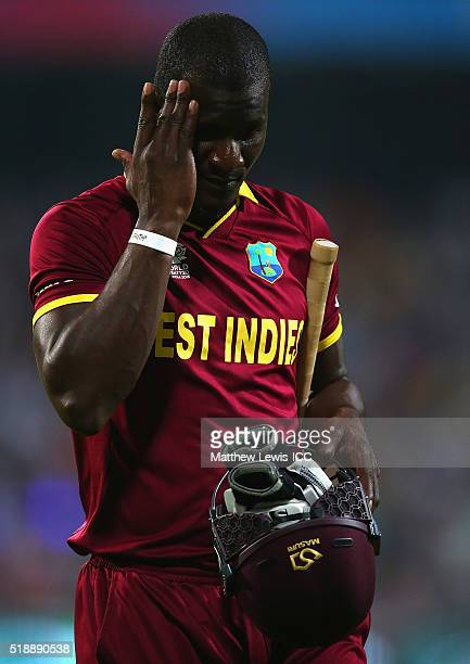 Darren Sammy Captain of the West Indies walks off after he was caught by Alex Hales of England during the ICC World Twenty20 India 2016 Final between...