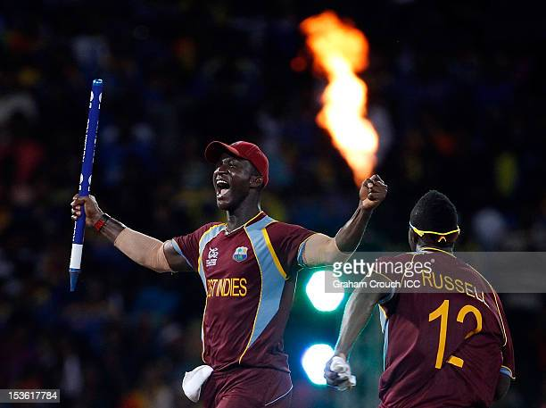 Darren Sammy captain of West Indies celebrates after defeating Sri Lanka in the ICC World Twenty20 2012 Final between Sri Lanka and West Indies at R...