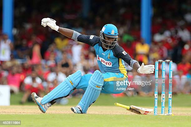 Darren Sammy loses his balance after playing a shot during a match between The Trinidad and Tobago Red Steel and St Lucia Zouks as part of the week 3...