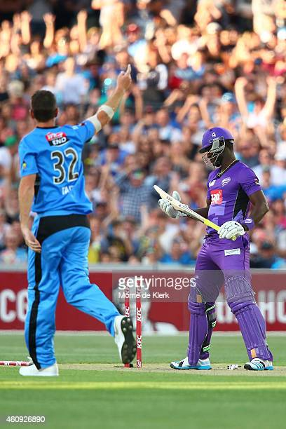 Darren Sammy of the Hobart Hurricanes looks on after getting out to Shaun Tait of the Adelaide Strikers during the Big Bash League match between the...