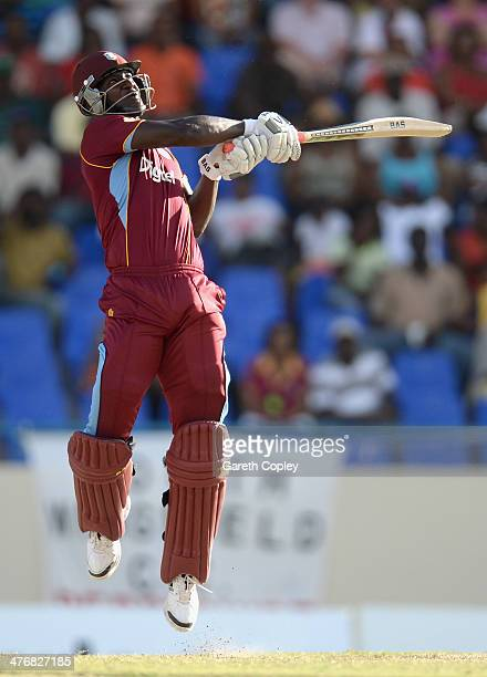 Darren Sammy of the West Indies bats during the 3rd One Day International between the West Indies and England at Sir Viv Richards Cricket Ground on...