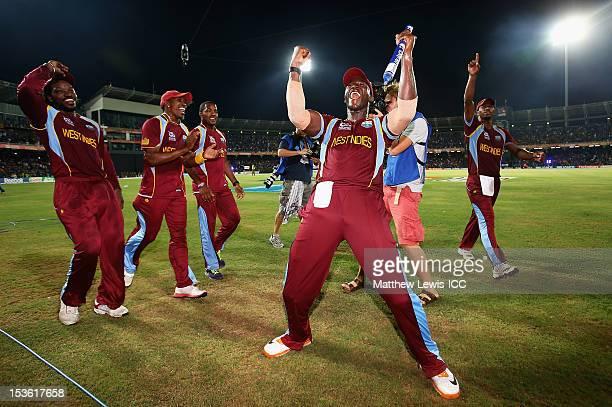 Darren Sammy of the West Indies celebrates winning the ICC World Twenty20 2012 Final between Sri Lanka and West Indies at R Premadasa Stadium on...