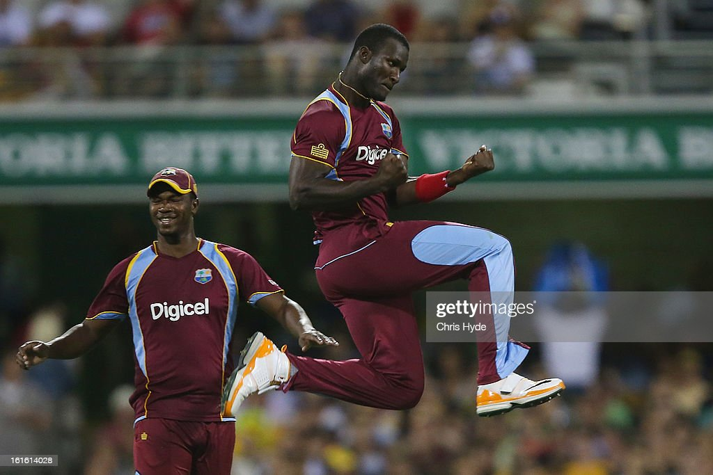 Darren Sammy of West Indies celebrates after dismissing Aaron Finch of Australia during the International Twenty20 match between Australia and the West Indies at The Gabba on February 13, 2013 in Brisbane, Australia.