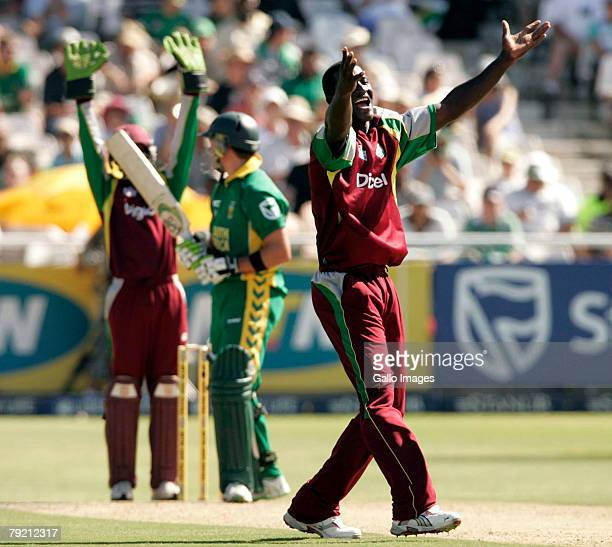 Darren Sammy of West Indies gets the wicket of AB de Villiersduring the 2nd ODI between South Africa and West Indies held at Sahara Park Newlands on...
