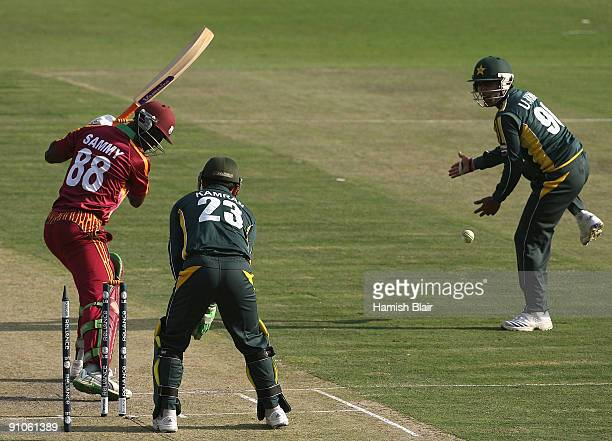 Darren Sammy of West Indies is bowled by Saeed Ajmal of Pakistan during the ICC Champions Trophy Group A match between Pakistan and West Indies...