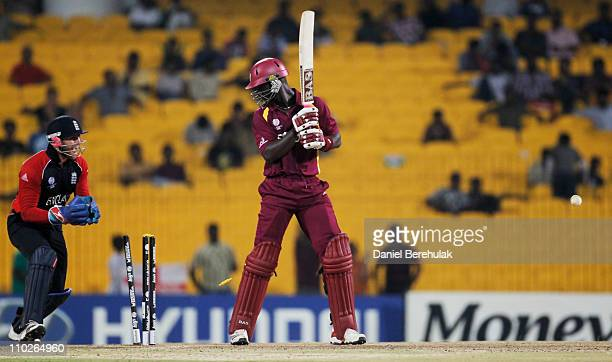 Darren Sammy of West Indies looks back at his stumps after being bowled by Ravi Bopara of England during the Group B ICC World Cup match between...