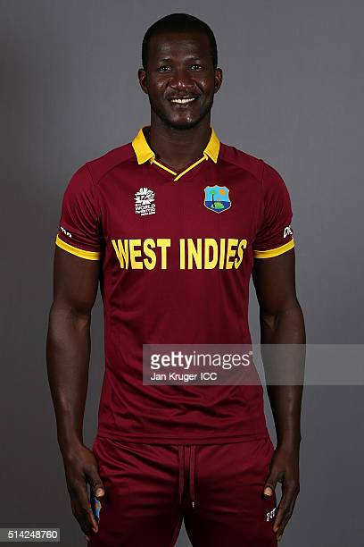 Darren Sammy poses during the West Indies headshots session ahead of the ICC Twenty20 World Cup on March 8 2016 in Kolkata India
