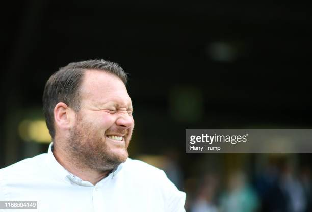 Darren Sarll, Manager of Yeovil Town during the Vanarama National League match between Yeovil Town and Eastleigh FC at Huish Park on August 06, 2019...