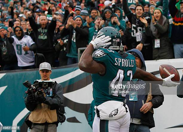 Darren Sproles of the Philadelphia Eagles celebrates a touchdown in the second quarter against the Tampa Bay Buccaneers at Lincoln Financial Field on...