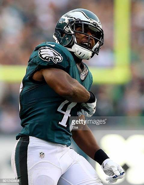 Darren Sproles of the Philadelphia Eagles celebrates after he returned a punt in the fourth quarter against the Buffalo Bills at Lincoln Financial...