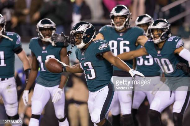 Darren Sproles of the Philadelphia Eagles celebrates scoring a touchdown with Carson Wentz Nelson Agholor Zach Ertz and Jordan Matthews against the...