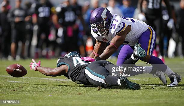 Darren Sproles of the Philadelphia Eagles fumbles the ball as Everson Griffen of the Minnesota Vikings defends during the first quarter of a game at...