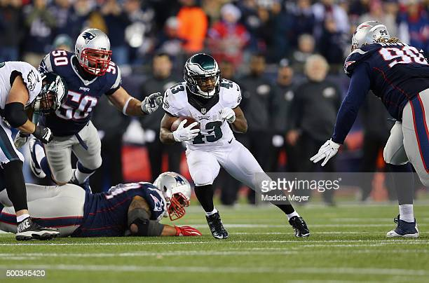 Darren Sproles of the Philadelphia Eagles runs with the ball during the game against the New England Patriots at Gillette Stadium on December 6 2015...