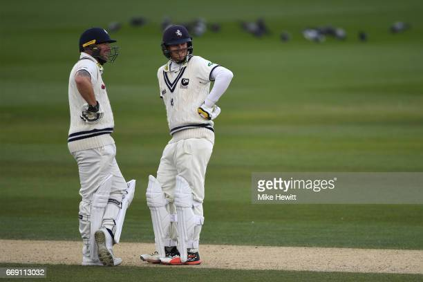 Darren Stevens and Sam Northeast of Kent share in a 150 run partnership during day three of the Specsavers County Championship Division Two match...