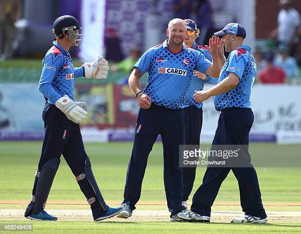 Darren Stevens celebrates taking a wicket with team mates during Royal London OneDay Cup match between Kent Spitfires and Glamorgan at The Spitfire...