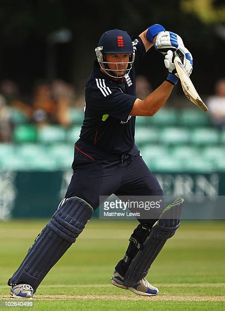 Darren Stevens of England hts the ball towards the boundary during the One Day International match between England Lions and India A at New Road on...