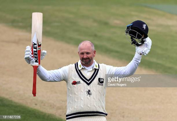 Darren Stevens of Kent celebrates after scoring a century during the LV=Insurance County Championship match between Northamptonshire and Kent at The...