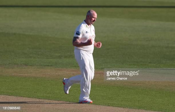 Darren Stevens of Kent celebrates dismissing Jordan Thompson of Yorkshire during the LV= Insurance County Championship match between Kent and...