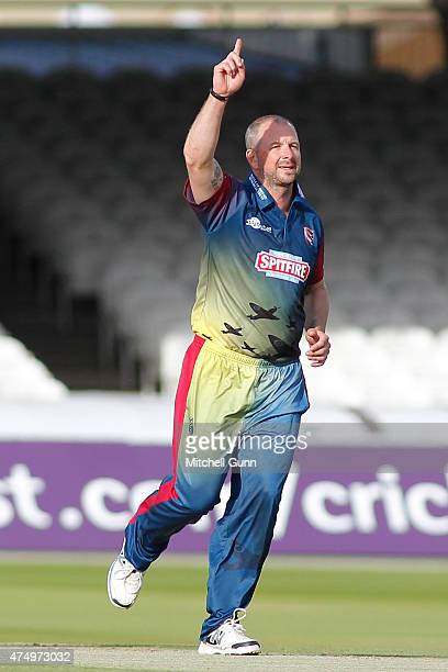 Darren Stevens of Kent celebrates taking the wicket of Dawid Malan of Middlesex during the NatWest T20 blast match between Middlesex and Kent...