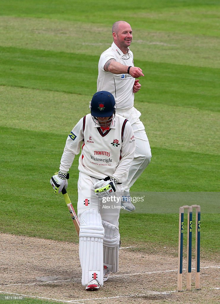 Darren Stevens of Kent celebrates taking the wicket of Luke Procter of Lancashire during the LV County Championship Division Two match between Lancashire and Kent at Emirates Old Trafford on April 25, 2013 in Manchester, England.