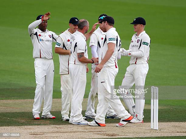 Darren Stevens of Kent celebrates taking the wicket of Zafar Ansari of Surrey during day three of the LV County Championship match between Surrey and...