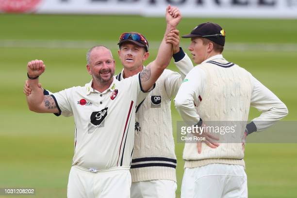 Darren Stevens of Kent celebrates the wicket of Sam Robson of Middlesex during the Specsavers County Championship Division Two match between...
