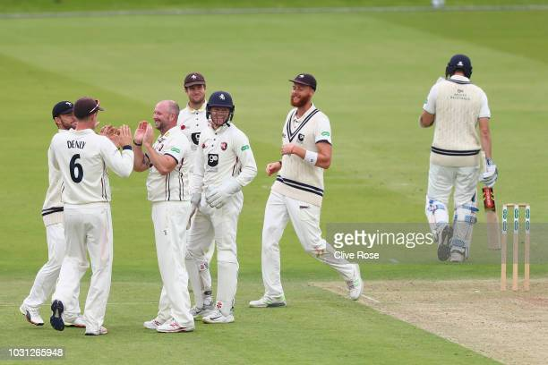 Darren Stevens of Kent celebrates the wicket of Stevie Eskinazi of Middlesex during the Specsavers County Championship Division Two match between...