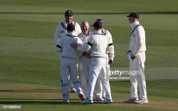 Darren Stevens of Kent celebrates with team mates after dismissing Jordan Thompson of Yorkshire during the LV= Insurance County Championship match...
