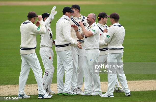 Darren Stevens of Kent celebrates with teammates after dismissing Will Rhodes of Warwickshire during the Specsavers County Championship Division One...