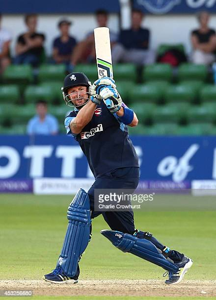 Darren Stevens of Kent hits out during Royal London OneDay Cup match between Kent Spitfires and Glamorgan at The Spitfire Ground St Lawrence on...